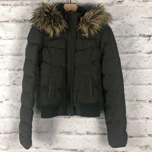 HOLLISTER Green Fur Bomber Fleece Line Jacket Sz S